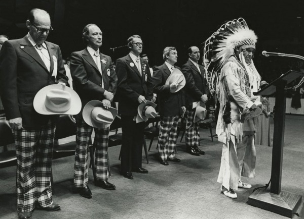 Photograph of Chief Jim Shot-Both-Sides at the opening ceremony