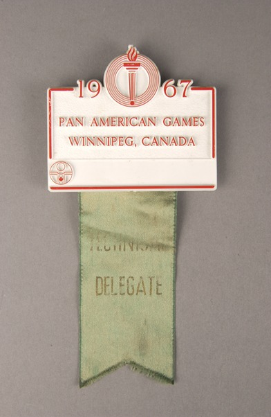 red and white badge with grey ribbon 1967 Pan American Games