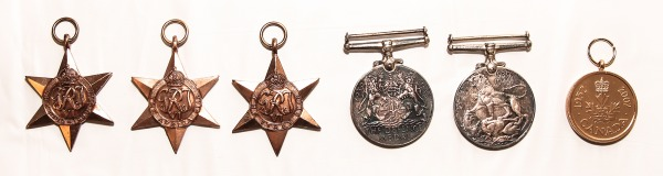 group of six military medals