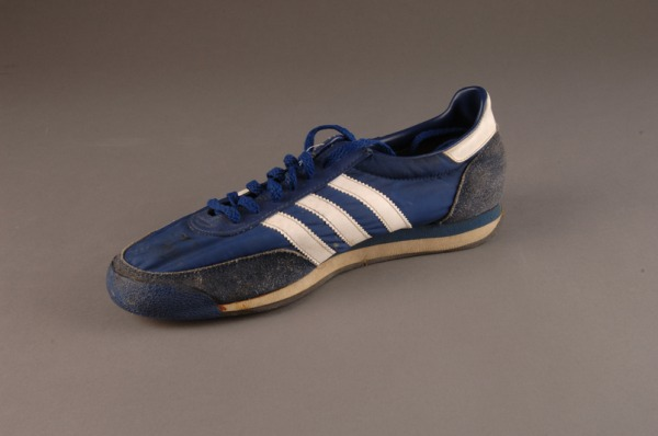 blue running shoe with diagonal stripes worn by Terry Fox