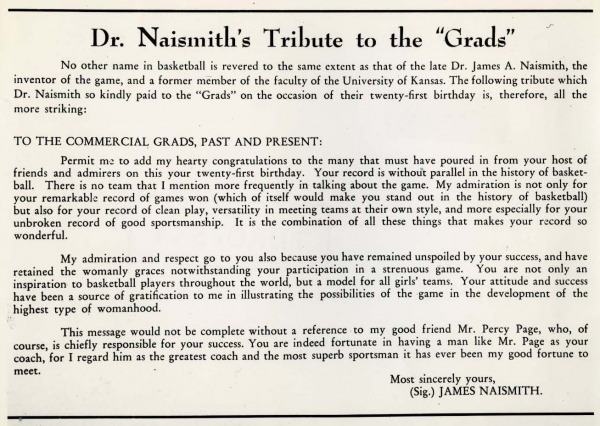 typed tribute signed by James Naismith