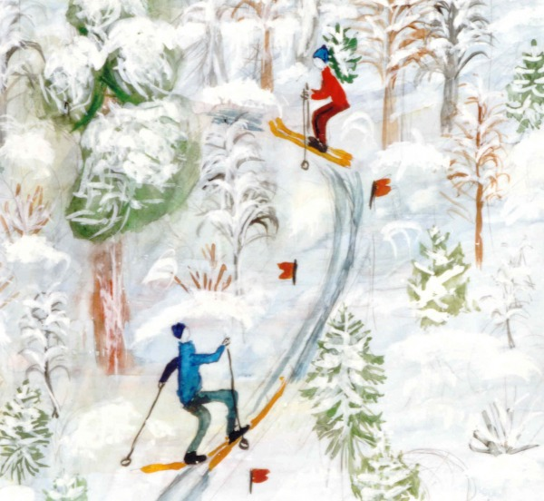 painting poster paint on paper of skiers in woods