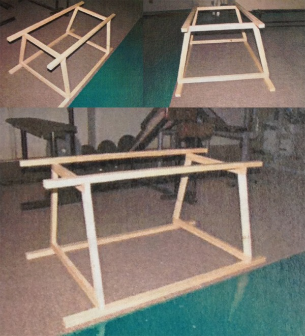 Image of wooden sledges that athletes jump through