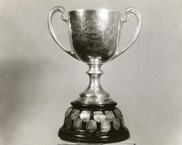Grey Cup Trophy on original base