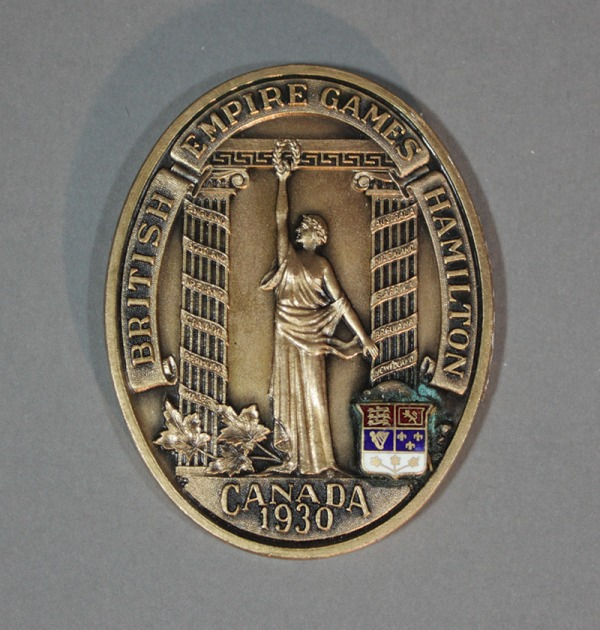 Oval silver medal with figure of Victory