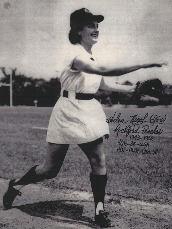 photograph of Helen Nicol Fox pitching