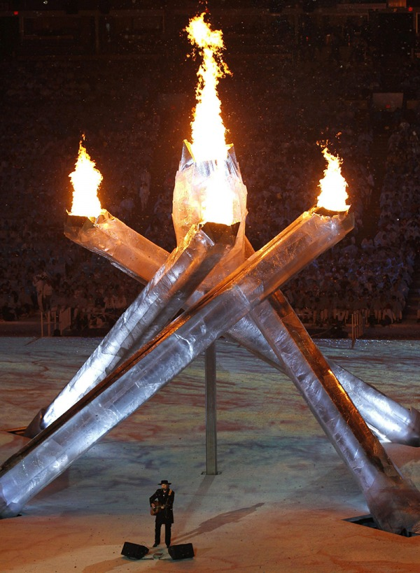 photograph of Olympic cauldron with five arms lit