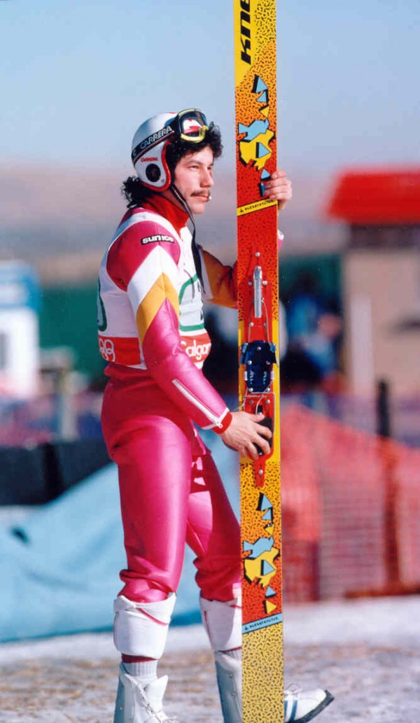 photograph of Steve Collins holding jumping skis