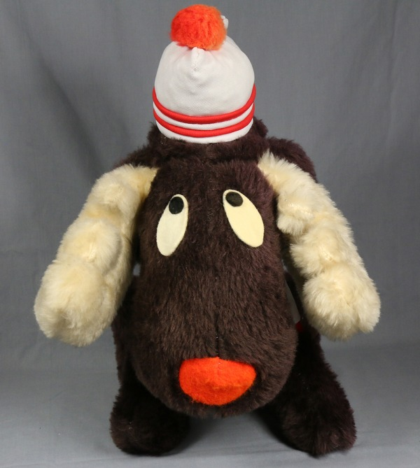 Stuffed toy Moose wearing toque and t-shirt