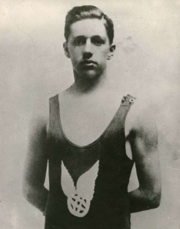 photograph of George Hodgson wearing bathing suit