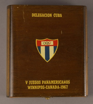 wood box with National Olympic logo of Cuba