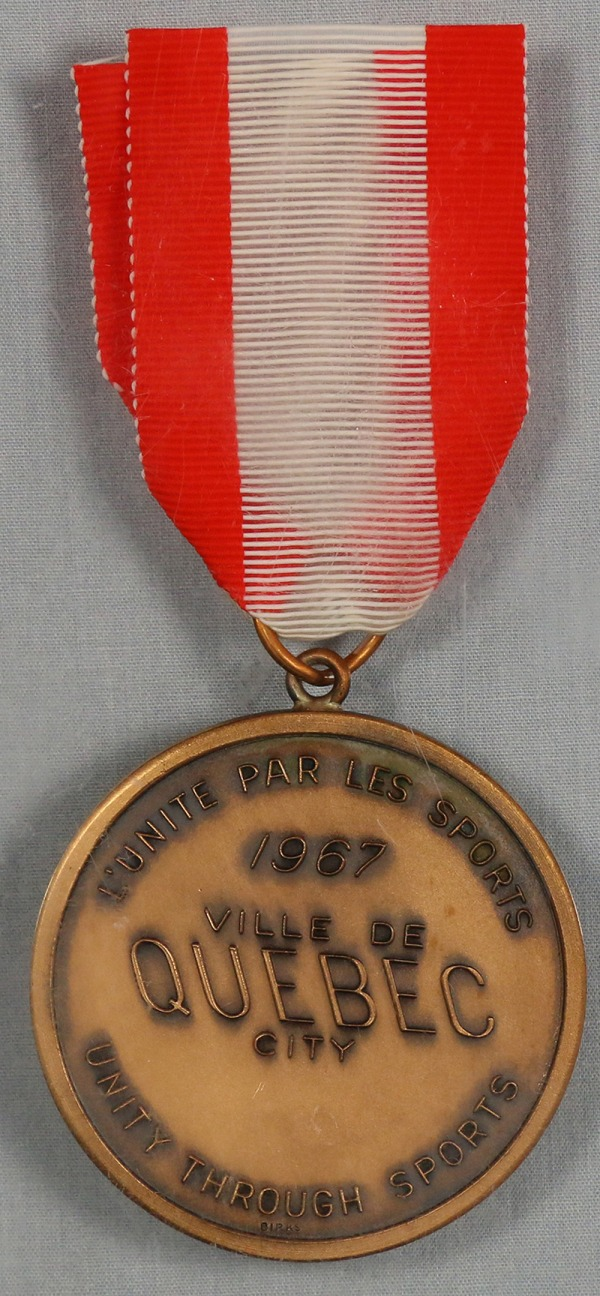 Bronze medal on red and white ribbon