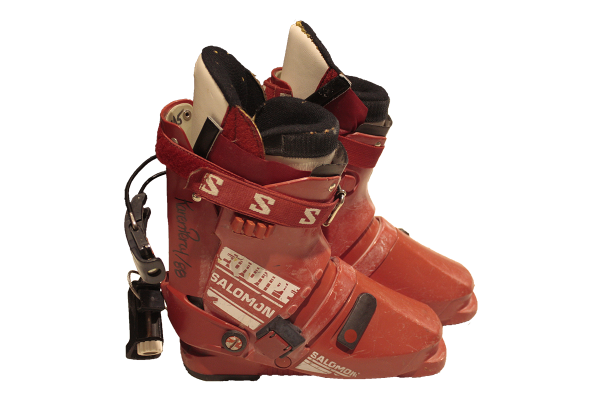red alpine ski boots signed by Karen Percy